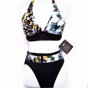 High waist bikini set 2 piece NWT  Tropical print